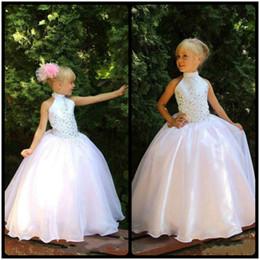 Wholesale Teens Cheap Long Dresses - Cheap Organza Flower Girls Dresses 2017 Tutu Ritzee Long Girl Pageant Gowns Beads Full Length Teens Kids First Communion