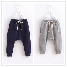 Wholesale Boy Clothes Kid Harem Pants - Calf-Length Boys Harem Pants Kids Sport Hot Shorts Pant Children Clothes Terry Baby Boy Clothing Grey Navy 2 3 4 5 6Year Brand