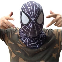 Wholesale Spider Mask - Wholesale-Amazing Spider Man Costume Adult Cosplay Masks For Halloween Full Face Superhero Breathable Male Mask Spiderman Hood CS03