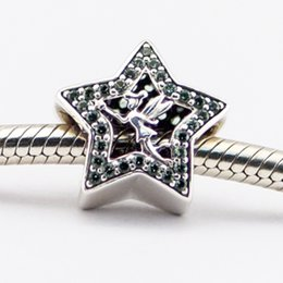 Wholesale Pandora Silver Bells - 925 Sterling Silver Charm Bead Tinker Bell Star, Green CZ Fits for Pandora Snake Chain Bracelets bangles Necklaces European Style Jewelry