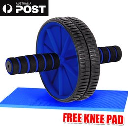 Wholesale Roller Abdominal Exercise - Abdominal Waist Workout Exercise Gym Fitness Wheel Roller Wheels and Knee Pad AB EVA Foam Handle Grip~Extra Thick Rod~Best Quality Wheel