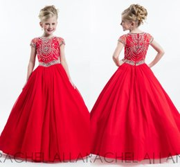 Wholesale Party Chiffon Dresses For Teens - Vintage short sleeves red 2017 little girls pageant dresses for teens crew neck beaded rhinestone long floor Rachel Allan party gowns
