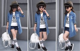 Wholesale Big Collar Coats - Paragraphs in the spring and autumn girl cowboy coat during the spring and autumn girl long big children dress in spring coat Jean jacket
