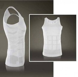 Wholesale Mens Shaping Vests - Wholesale-Hot Mens Compression Vest Body Shaping Vest Slimming Corset For Men Chest Belly Abdomen Tummy Fat Burn Shapewear Hot Shapers