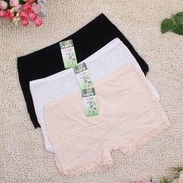 Wholesale Lace Boxer Briefs For Women - 1 piece bamboo fiber women's safety pants women lace boxer briefs Boyshort medium waist underwear for ladies 3 colors