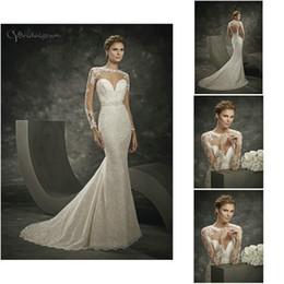 Wholesale Divina Sposa - Long Sleeve Illusion Neckline Beaded Sash Lace Mermaid Custom Made 16236 N24 2016 Divina Sposa Bridal Dresses Wedding Gowns