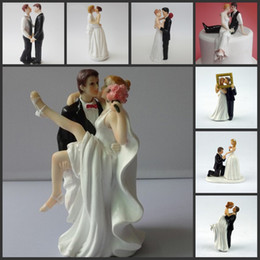 Wholesale Party Happy - Happy Princess Embrace Bride And Groom Wedding Cake Topper Decoration Couple figurine Craft Wedding Cake decorations wedding centerpieces