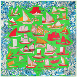 Wholesale Boat Vessels - 52*52Inch 100% Silk Scarves For Women Sailing Boat Ship Vessel Floral Printed Silk Square Scarf Femal Fashion Shawls