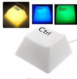 Wholesale Green C7 Bulbs - Keyboard light button light Novelty Ctrl Button Style USB LED Keypress Light Night Light Lamp Yellow   Blue   White   Green Light to choose