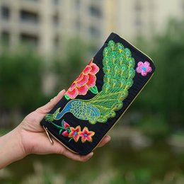 Wholesale Easter Fabric Panels - DHL Free Shipping Exquisite Embroidery Women Ethnic Retro Wallet Butterfly Flower Clutch Embroidered Handbag