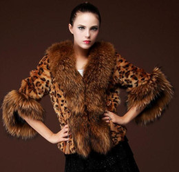 Wholesale Leopard Hooded S - Free shipping New Leopard Silver fox coat women long natural fox fur coats winter fox fur jacket custom plus size