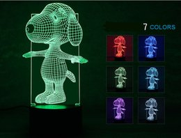 Wholesale Acryl Colors - 7 Colors Changing cute snoopy Light 3D Visual Led Night Light USB Novelty Table Lamps as Home Decor Besides Lampara