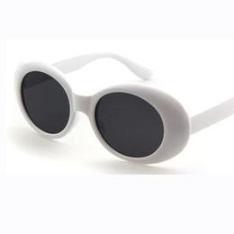 Wholesale Small White Frames - clout goggles glasses kurt cobain sunglasses men retro small oval shaped flat lens white black sun glasses for women oculos de sol femme