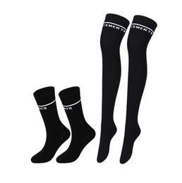 Wholesale girls legs stockings - Vetements Over Knee Stocking Cotton Black Striped Socks Teenager Students Girls Hip Hop Overknee Letter Embroidery Leg Warmer Long Socks