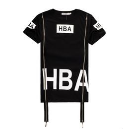 Wholesale Cord Sleeves - 2016 Hot Men Fashion Hip Hop T Shirt Zipper Side HBA Hood By Air Harajuku T-shirts Spinal Cord X-ray Streetwear Tees