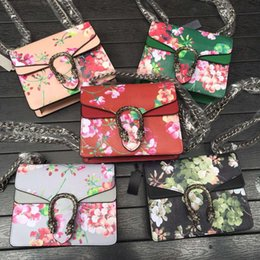 Wholesale Trendy Shoulder Bags - high quality~w334 5 colors genuine leather floral chain shoulder bag 20*15.5*5cm black pink red luxury designer fashion trendy brand