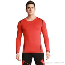 Wholesale Pro Running - Men's Tight Training PRO Sports Fitness Running Long Sleeve Elastic Quick Drying Pure Color Clothes