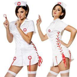 Wholesale Sexy Nurse Lingerie Set - Sexy Nurse Costumes Set Women Teddy Lingerie Sexy Hot Erotic Game Cosplay Nurse Uniform V-neck Babydoll Dress Sexy Underwear