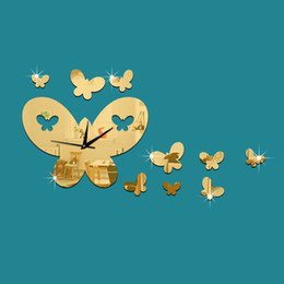 Wholesale Silver Butterfly Decal - DIY 3D Wall Clock Gold Silver New Acrylic Butterfly Mirror Sticker Wall Clock Decal Mural Home Decor Clocks