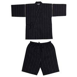 Wholesale Bathrobe Cotton Men - Wholesale-Men Cotton Yukata Kimono Suit Men Japanese Traditional Pajamas set Summer Japanese Style Bathrobe 82003