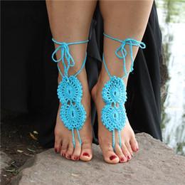 Wholesale Shoes Ankle Bracelet - 2016 New Hand Made Wedding Anklets Ornament Ankle Bracelet Beach Anklets Shoes Wholesale Fashion Lady Crochet Barefoot Sandals