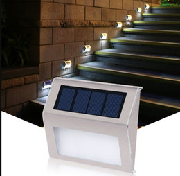 Wholesale Outdoor Decorating - Good Quality Stainless Steel Outdoor Lighting 3LEDs solar lamp Garden Decorate Wall Lamp Step Light Sensor LED Solar Light LLFA