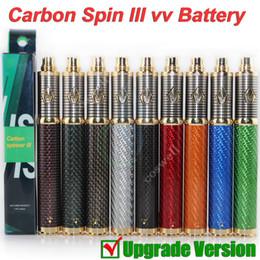 Wholesale New E Cig Batteries - New Vision Carbon Spin 3 vapen III Carbon Fiber e cig cigarette 3.3-4.8V 1650mAh ego Variable Voltage battery fit ego vapor RDA atomizers