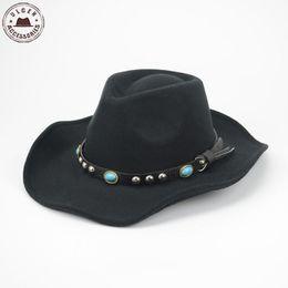Wholesale Cool Mens Winter Hats - Wholesale-Cool Mens western cowboy hat black wool felt fedora hat classical stetson Jazz hats large brim Mens panama Hat band fedora Caps