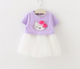 Wholesale T Ball Set Wholesale - Childrens Pretty Korean Style Princess Outfit 2016 Hot Sale Girls Cartoon Kitty Fashion Set Short Sleeve T-shirt And Ball Gown Dress Set