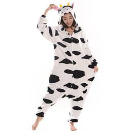 Wholesale Cow Cartoon Costume - Cow Unisex Adult Flannel Hooded Pajamas Adults Cosplay Cartoon Cute Animal Onesies Sleepwear For Men Women