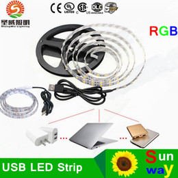 Wholesale Mini Tv Computer - 5V USB LED strip 5050 RGB LED Strip Light Laptop Computer TV Background Flexible Lighting With Mini RGB Controller