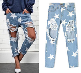 Wholesale Women Baggy Jeans - 2016 New arrival Europe & United States Women's Clothing Loose star stamp hole baggy jeans Ms fashion personality denim Straight pants