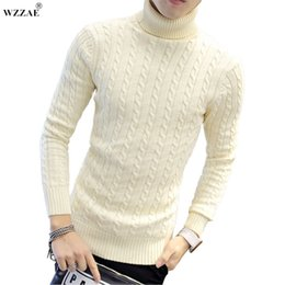 94c07d19bbc Wholesale-WZZAE 2017 New High Quality Brands Twist Sweater Knitting Winter  Men s Turtleneck Cotton Sweater Jumpers Pullover Sweater Men