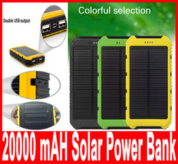 Wholesale Power Bank External Battery Waterproof - 20000mAh Solar Power Bank Charger Waterproof Solar Phone External Battery Dual USB Power Bank for Iphone Portable Charger with retail packag