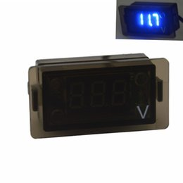 Wholesale Mini Voltmeter Blue - Universal Car Auto Mini Digital Blue LED Voltage Display Panel for Motorcycle Car Equipment Voltmeter digital Volt Meters