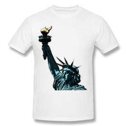 Wholesale Black Man Statue - Designer Man Pure cotton Tee-Shirt Statue of liberty Man Crewneck Gray Short Sleeve T Shirt 6XL Custom Tee-Shirt