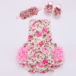 Wholesale Clothe Baby Girl Shoes - HOT!2016 new Floral baby lace romper for toddler headband shoe set;ropa bebe boutique infant summer clothes;newborn baby girl clothes 5sets