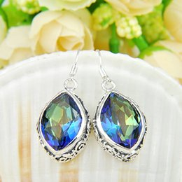 Wholesale Vintage Sterling Silver Chandelier - 6 Pairs 1Lot Luckyshine Thanksgiving Gift Vintage Fire Mystic Topaz Gems 925 Sterling Silver Dangle Earrings Russia Canada Drop Earrings