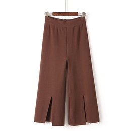 Wholesale Loose Pants For Girls - Vertical Wide Leg Pants for Women Office Split Cropped Capris 2017 Autumn Lady Elegant Palazzo Loose Trousers Girls Pantalones Mujer W130