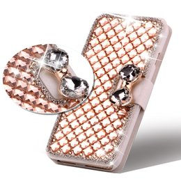 Wholesale Wholesale Flip Rhinestone Cases - Flip PU Leather Bling Wallet Protective Case Rhinestone Diamond Cover with Card Holder for iPhone 5s 6s 6plus 7 7 plus Samsung S6 S7 S7 edge