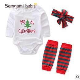 Wholesale Kids Costume Rompers - Christmas Rompers Headband Sets Long Sleeve Romper Jumpsuit Kids Christmas Tree Christmas Costume Newborn Onesies Sets Baby Romper Outfit