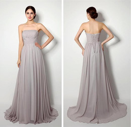 Wholesale Store Dresses Girls Wedding - Grey Bridesmaid Dresses 2016 Long Chiffon Strapless Lace Up Wedding Guest Gowns Ruched Simple Cheap Online Store Dress For Girls
