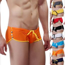 Wholesale Sexy Gym Shorts - Wholesale-Summer Fashion Brand Men Sexy Bulging Pouch Rivets Mini Boxers Swimwear Gay Gym Swim Trunks Beach Board Shorts