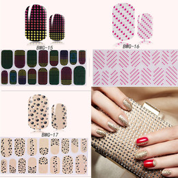 Wholesale Diamond Decorations Stickers - 16 Design Nails 3D Full Wraps Glitter Diamond Sticker Beauty DIY Nail Decals Rhinestone Nail Art Decorations Manicure Tip