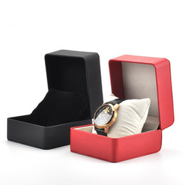 Wholesale Jewellery Display Tags Wholesale - Without LOGO Fashion PU Leather Wrist Watch Box Jewelry Case Jewellery Display Storage Packaging Case Organizer Gift Boxes 2 Colors Boxes gl