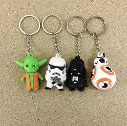 Wholesale Key Chain Ring Light - new Star Wars Keychains Darth Vader white soldiers sided cartoon doll pendant key ring chain ring key chain doll gift