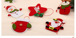 Wholesale Bird Tree Ornaments - New Year Christmas Tree Decorations Felt Bird Heart Star Hanging Decor Handmade Christmas Pendant Drop Ornaments
