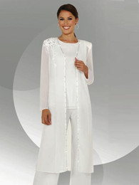 Wholesale White Blouses Images - White Chiffon Long Sleeves Mother of the Bride Pant Suits With Long Blouse Sequins Beaded Mother of Groom Pant Suit