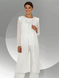 Madre novia vestidos manga larga lentejuelas online-Gasa blanca Mangas largas Mono de la novia Trajes con blusa larga Lentejuelas Vestido de madre de novio