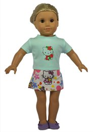 Wholesale Wool Western Skirt - New Arrival Lovely Pattern Kitty Doll Shirt and Doll Skirt for American Girl Dolls and Alike